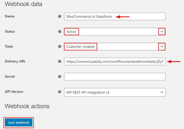 Paste Webhook URL