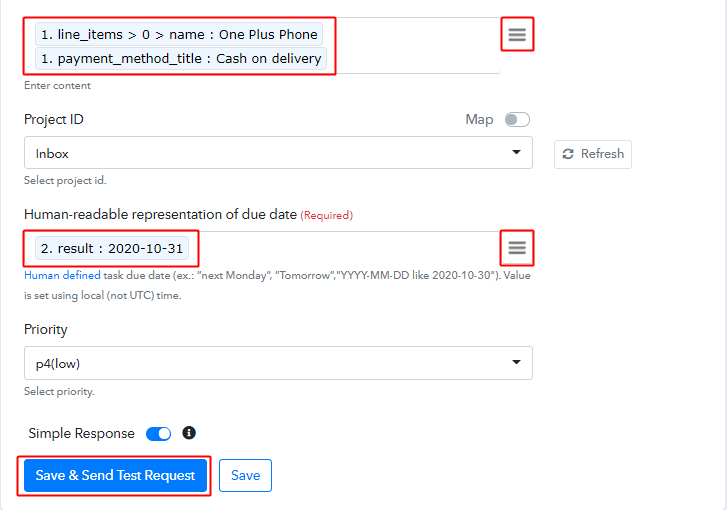 Send Test Request for Todoist Action