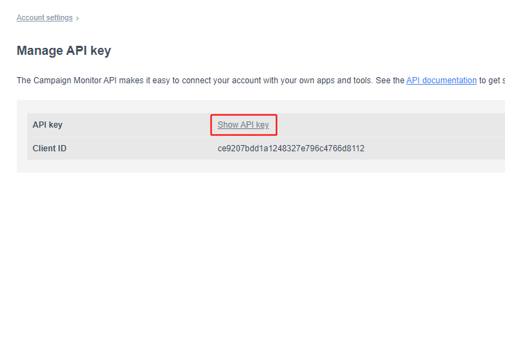 Show API Key Campaign Monitor