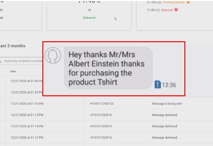 Check Response in Mailjet SMS Dashboard