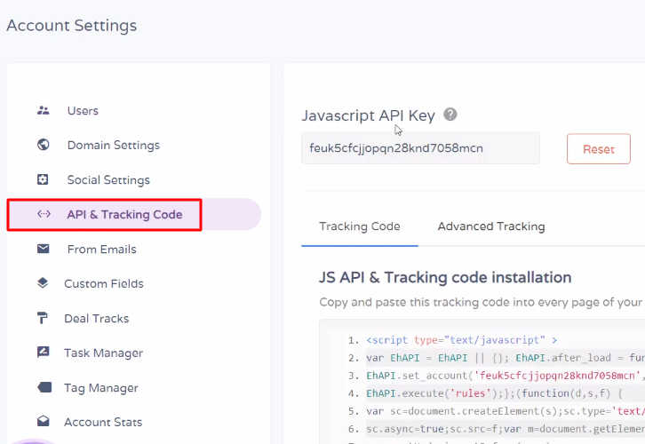 API & Tracking Code Engagebay