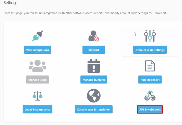 API & Webhooks Thrivecart