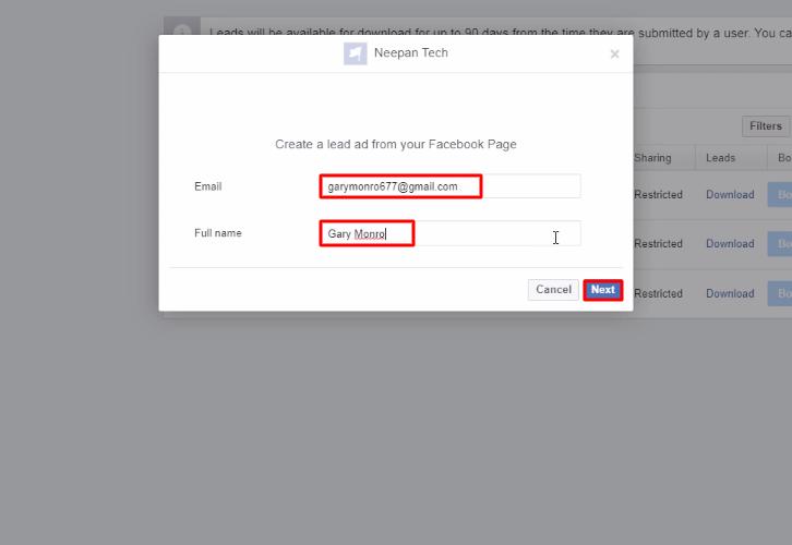 Add Lead Ad Facebook