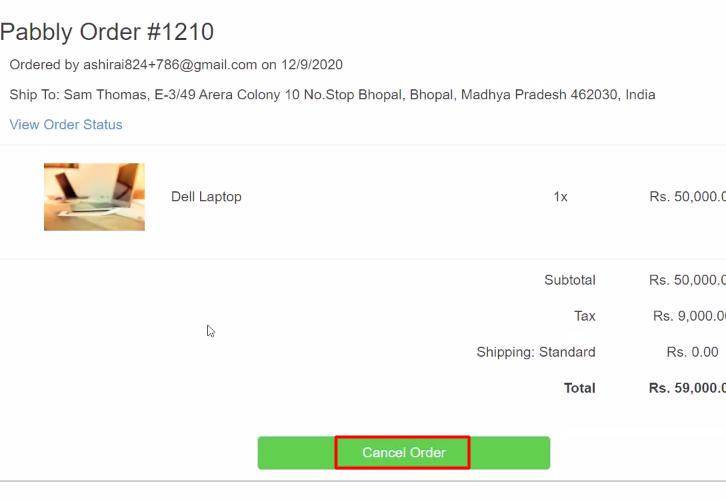 Cancel Order Shopify