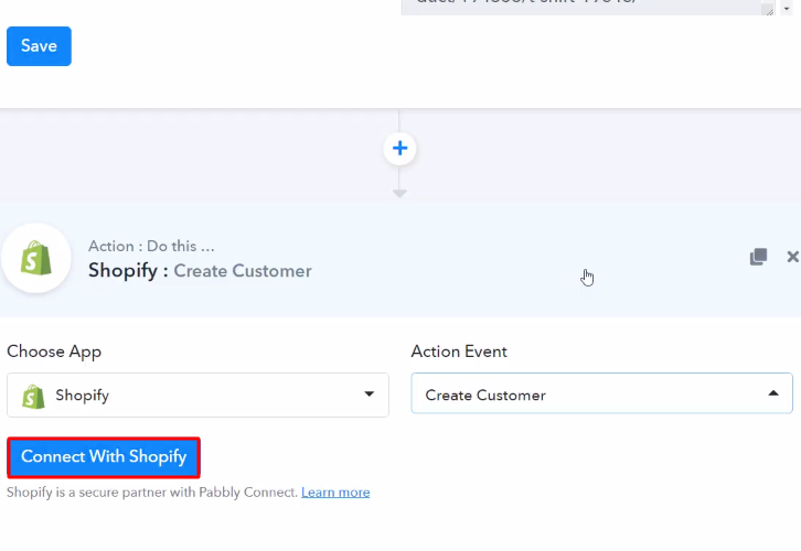 Click Connect Shopify