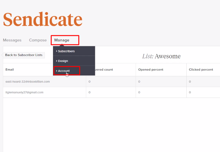 Click Manage Sendicate