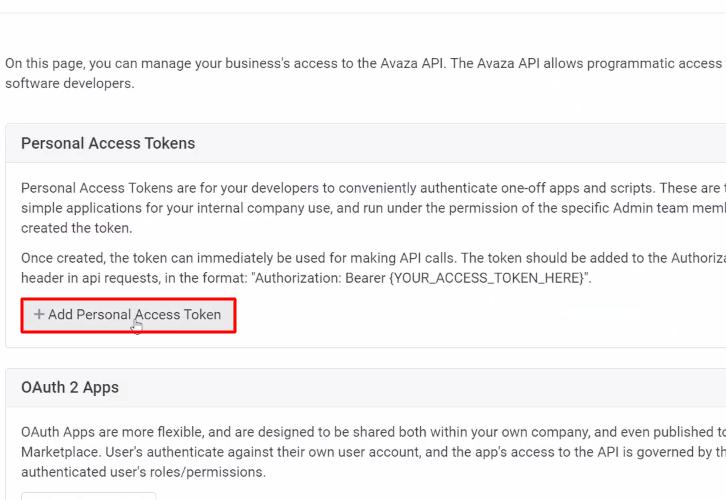 Click on Add Personal Access Token Avaza