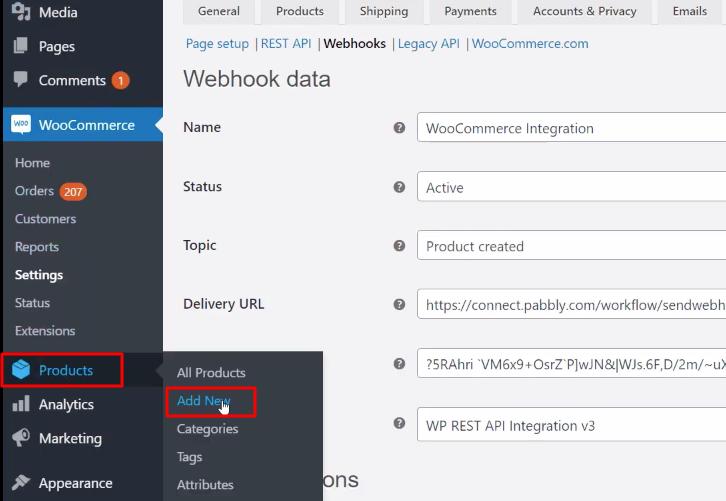 Click on Products WooCommerce