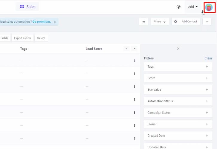 Click on Profile Agile CRM