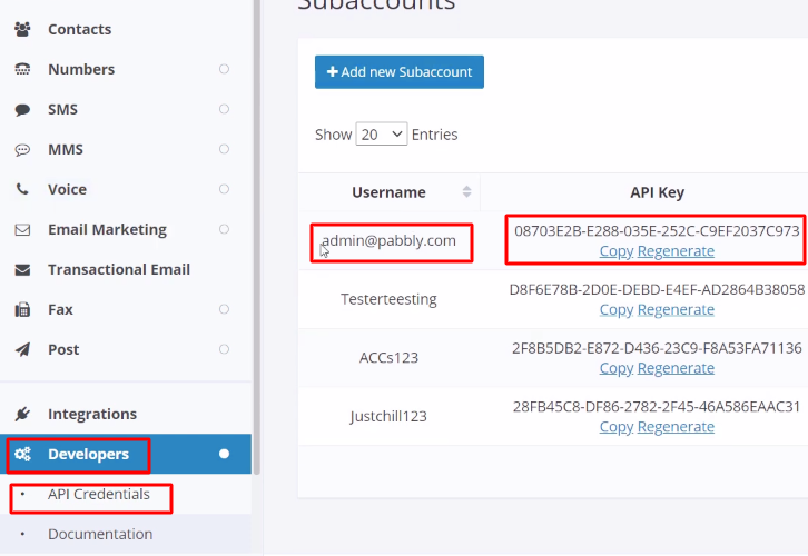 Copy the API Key Clicksend