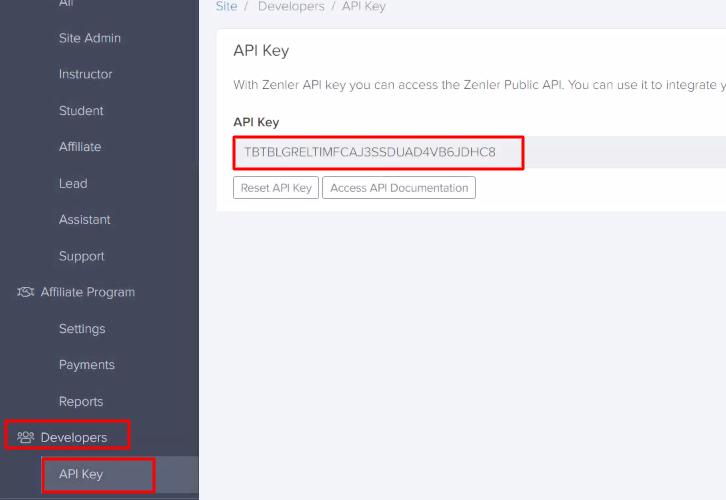 Copy the API Key Zenler