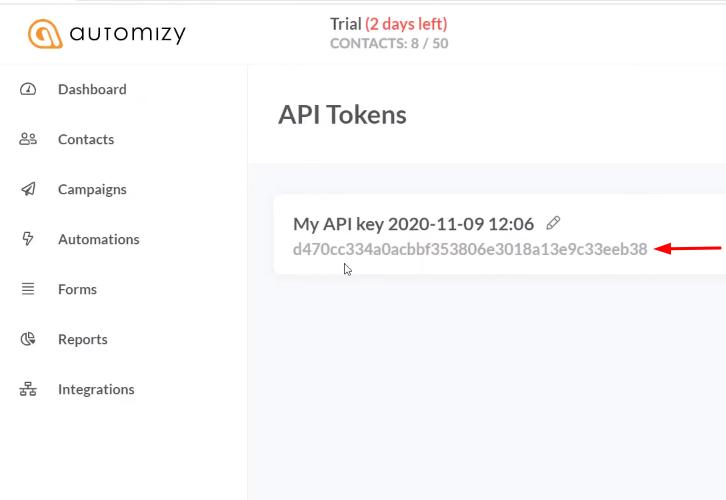 Copy the API Token Automizy