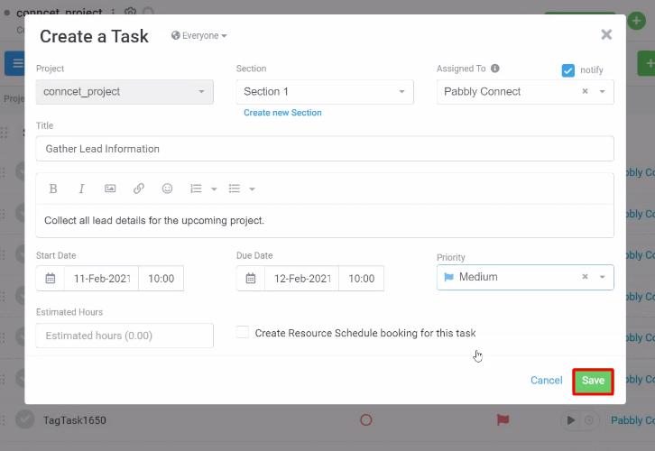 Create Task Avaza