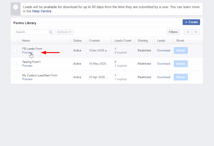 Preview Forms Facebook