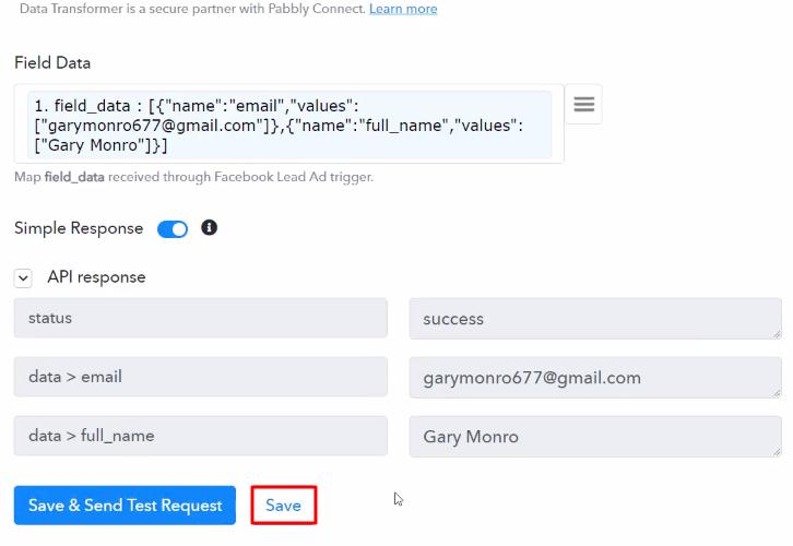 Save API Response Data