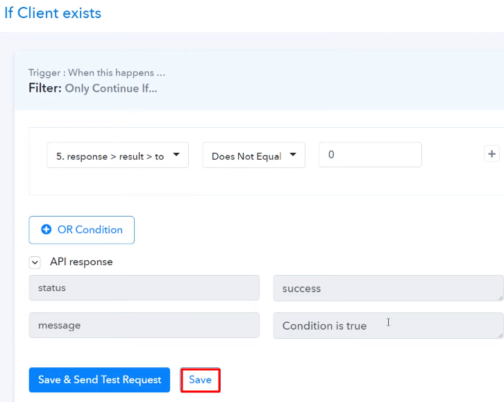 Save the API Response Route