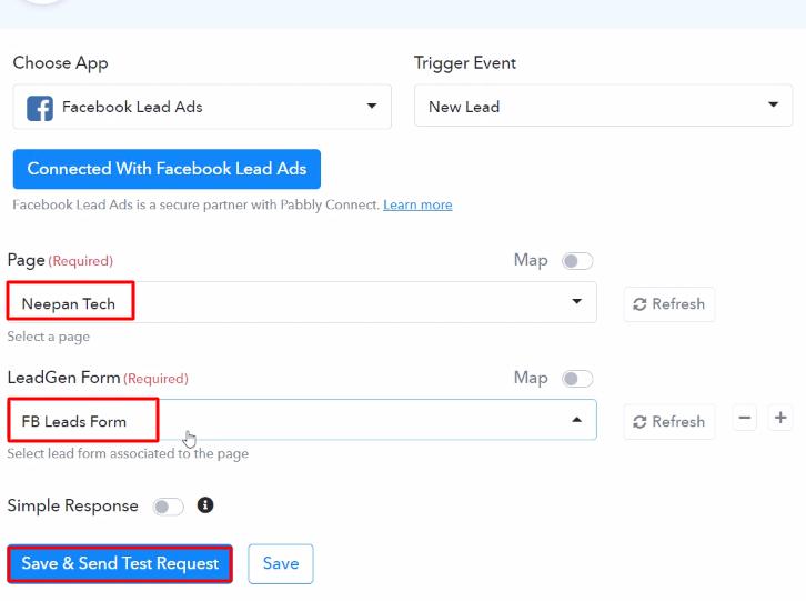 Send Test Request Facebook