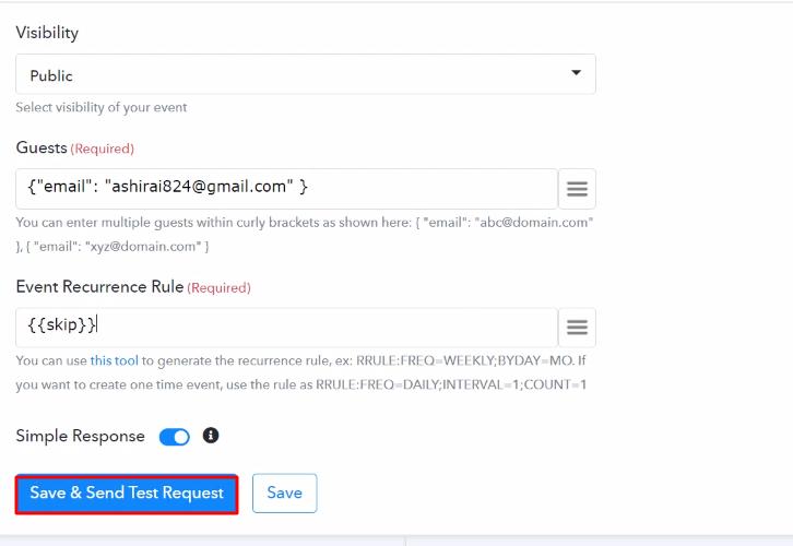 Send Test Request Google Calender