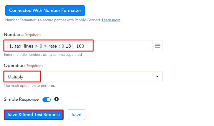 Send Test Request Number Formater