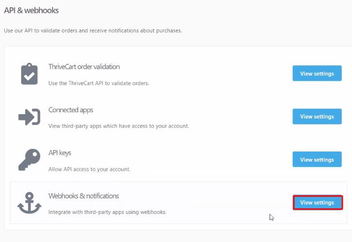 Webhooks & Notifications Thrivecart
