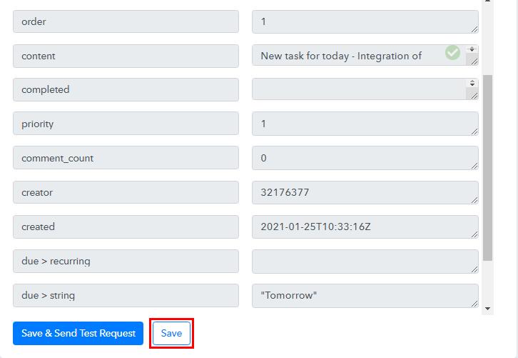 Check and Save API Response Todoist
