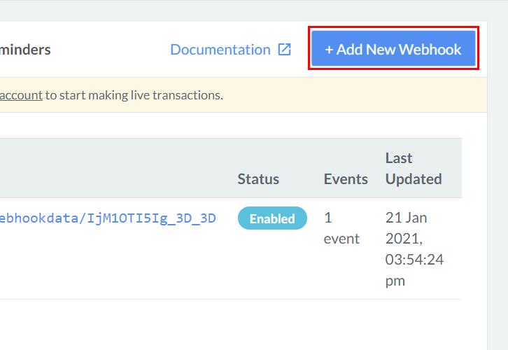 Click Add New Webhook Razorpay