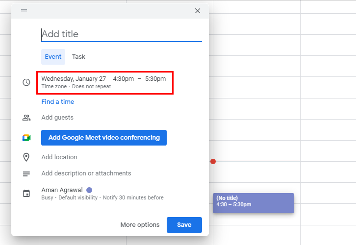 Create an Event for Google Calendar to ClickUp Integration