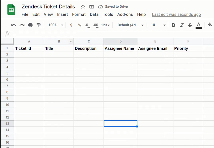 Creating a Worksheet in Google Sheets