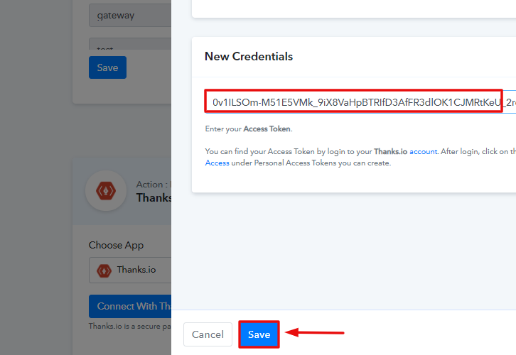 Paste the Token to Create Thanks.io Recipient from New Shopify Order