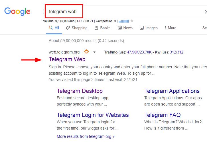 Go to Telegram Web