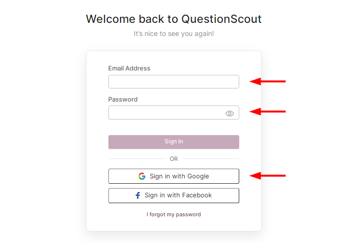 Login to QuestionScout