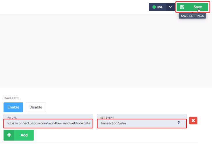 Paste Webhook URL for PayKickstart to Thanks.io