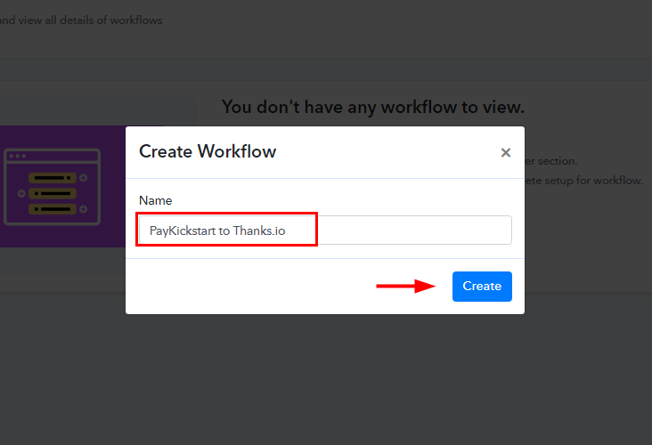 Workflow for PayKickstart to Thanks.io