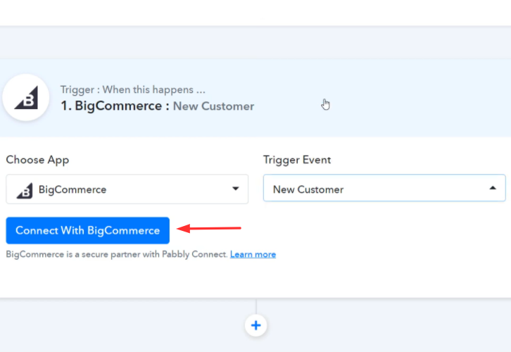 Click Connect Button BigCommerce