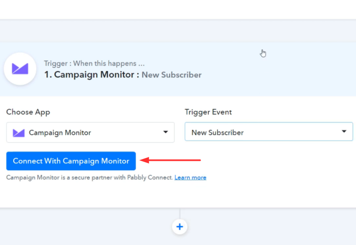Click on Connect Button Campaign Monitor