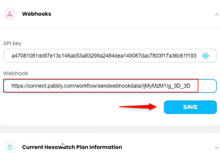 Paste The Webhook URL in Hexowatch