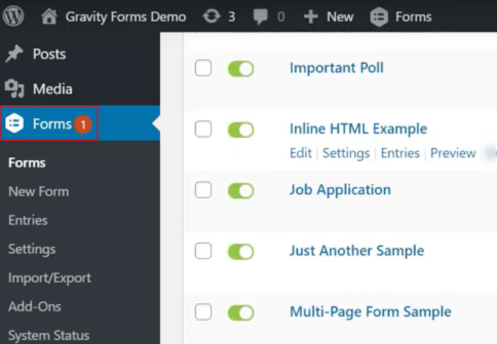 Go to Gravity Forms Settings