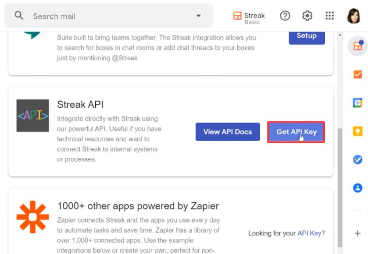 Press the Get API Key Button