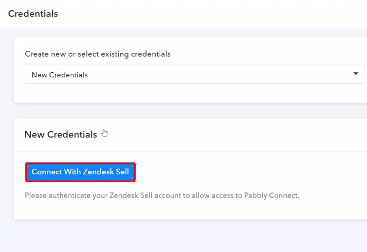 Authorize Application Zendesk Sell