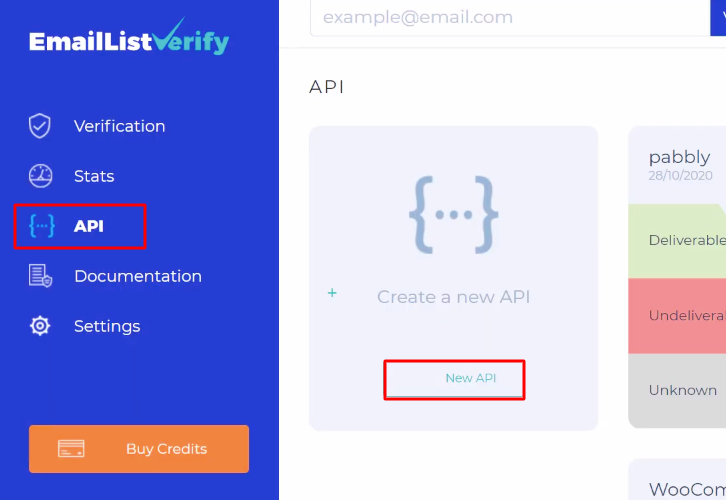 Click on API EmailListVerify