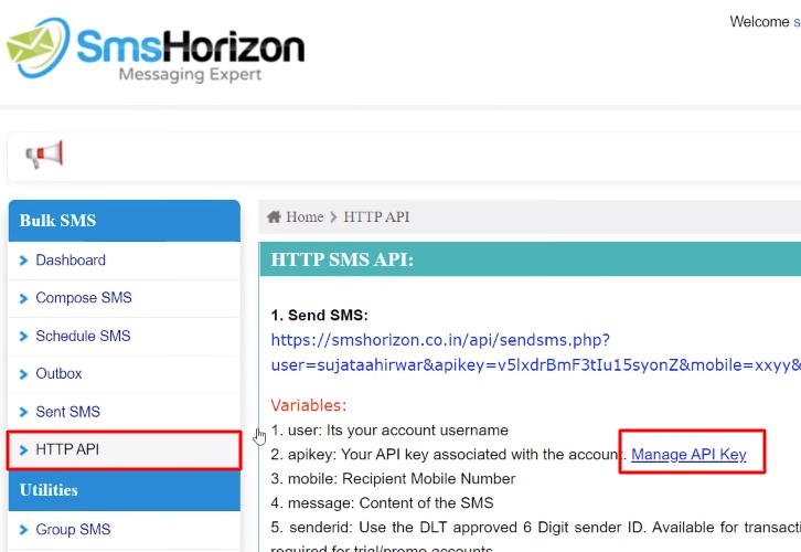Click on HTTP API SmsHorizon