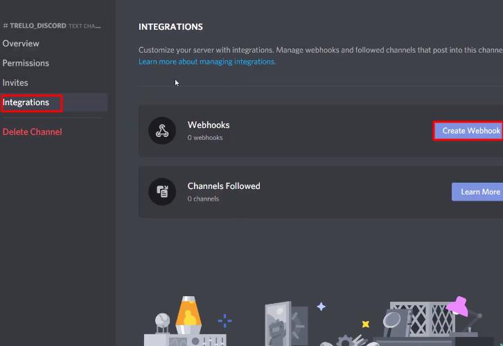 Click on Integration Discord