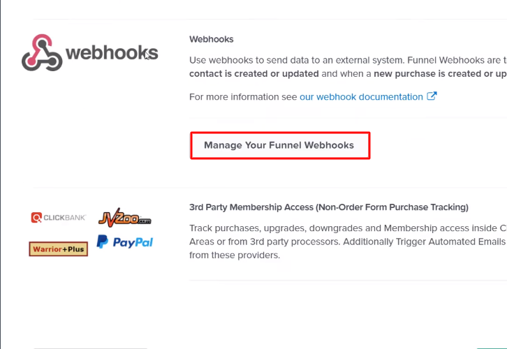 Click on Manage your Funnel Webhooks ClickFunnels
