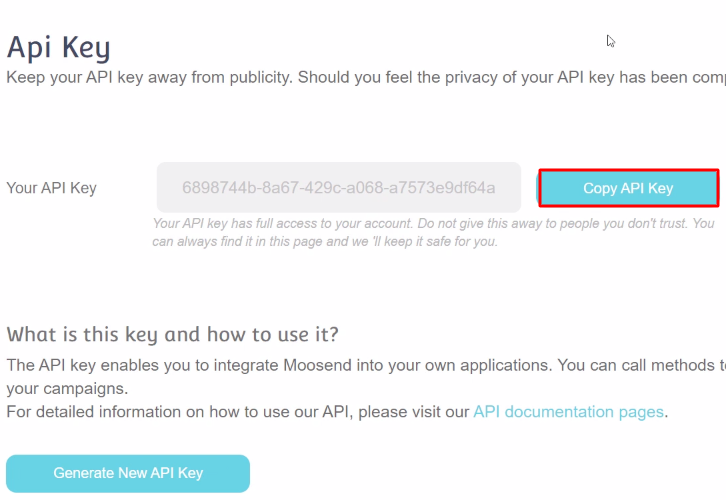 Copy API Key Moosend