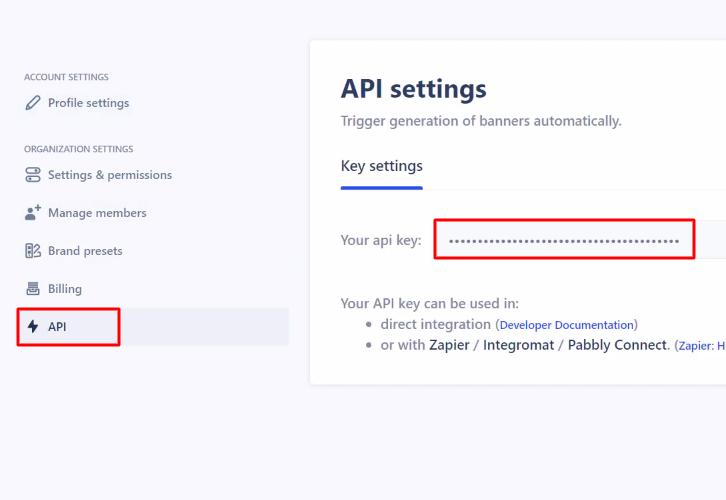 Copy the API Key Abyssale