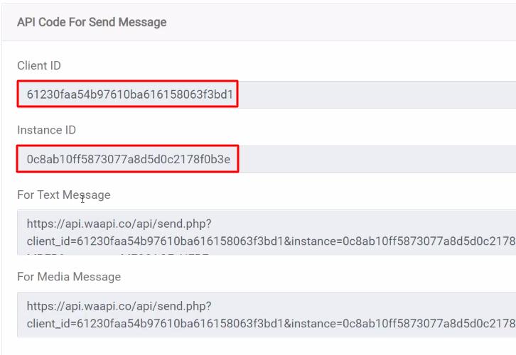 Copy the Credentials WA API