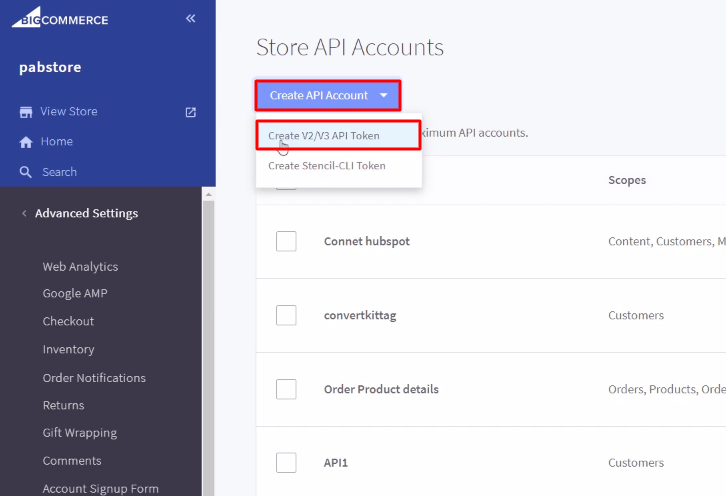 Create API Account BigCommerce