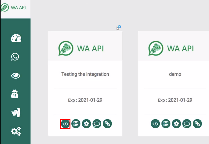 Open Created Instance WA API