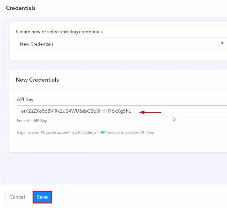 Paste the API Key Abyssale
