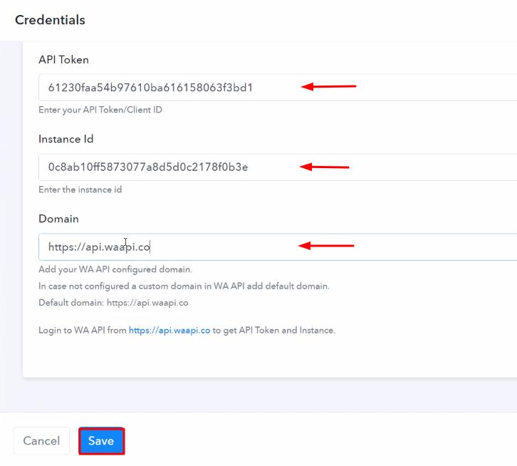 Paste the Credentials WA API